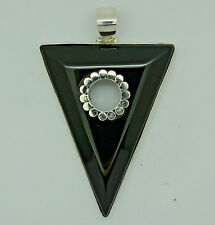 d Handmade Huge BLACK ONYX Gemstone Pendant  in 925 Sterling Silver (New) 5.5 cm
