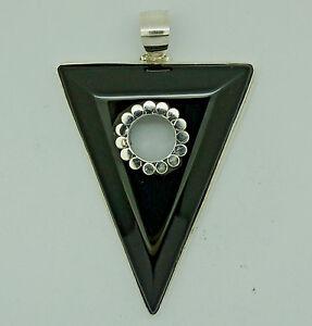 Handmade BLACK ONYX Gemstone Pendant  in 925 Sterling Silver - 5.5 cm