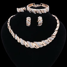 Fashion Gold/Plated Crystal Necklace Bracelet Earring African Beads Jewelry Sets