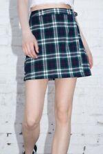 brandy melville blue/red/white/green plaid wrap buckle Emerson skirt NWT sz S