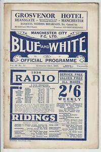 Manchester City V Sheffield Wednesday Rare Division One Programme 1935/36