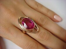 VINTAGE, 14K ROSE GOLD LARGE RING WITH HOT PINK OVAL SHAPED STONE 9.3 GRAMS