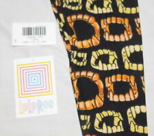 LuLaRoe Child Leggings S/M Halloween Black with Orange & Yellow Fangs New w tags