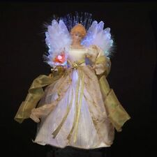 Ivory and Gold Angel Fiber Optic Light Up Christmas Tree Topper Decoration