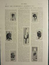 1900 VICTORIAN PRINT ~ SOILDIER'S HEADGEAR 18th HUSSARS BUSBY GUARDS BEARSKIN