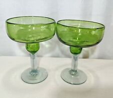 Margarita Glasses Set of 2 Handblown Green with Clear Stem Base Original
