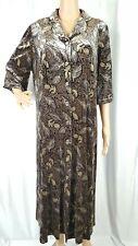 Womens Gray Brown Velvet Floral Print Long Duster Cardigan Robe