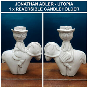JONATHAN ADLER UTOPIA CANDLESTICK HOLDER COWBOY COWGIRL REVERSIBLE RARE BERLIN
