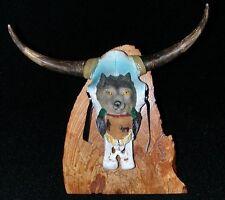 Figurine - Bull Skull Wolf Spirit Motif - Madrone Wood Base