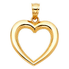 Open Heart Pendant Charm 14k Solid Yellow Gold