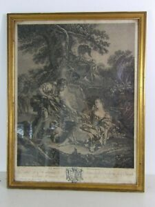 Gravure François BOUCHER Le panier mysterieux gravée par GAILLARD XVIIIe cadre