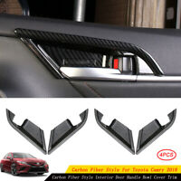4x Carbon Fiber Style Interior Door Handle Bowl Cover Trim For Toyota Camry 2018