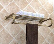 Antique Brass Towel Bar Rail Rack Holder Shelf Rod Bathroom Wall Mounted yba026