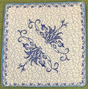 Vintage Silk Pot/Place/Table Mat Blue White from Georgia Non-slip Back 22cm VGC