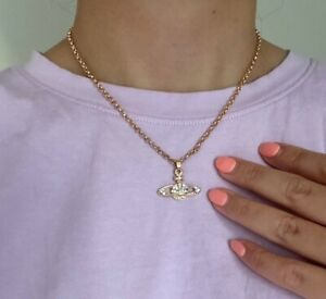 Hot Rose Gold Vivienne Westwood Orbit Saturn Necklace Chain Sterling with pouch
