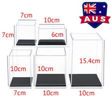 AU 6cm-15.4cm H Acrylic Display Case Small Perspex Box Black Base Dustproof UV