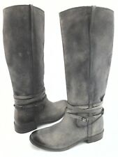 FRYE Tall Riding Boots SHIRLEY Distressed Plate Gray Women's US 8 EU 38.5 $448