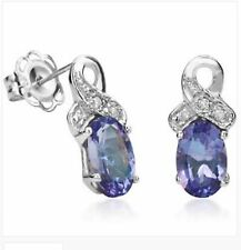 TANZANITE DIAMOND EARRINGS SILVER. 0.87 CWT AA STONE WHITE GOLD LOOK EARTH MINED