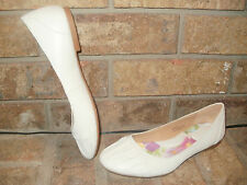 New Born Handcrafted White Leather Brittania/ Ballet Flat/Shoe US 6/ EUR 36.5