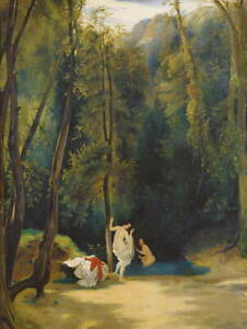Carl Blechen Woman Bathing in the Park of Terni Poster Giclee Canvas Print
