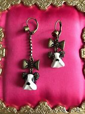 Betsey Johnson Royal Engagement English Bulldog Pitbull Dog Mismatch Earrings