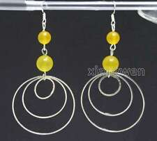 piece metal Ring Dangle 3.5'' Earring-e618 Sale Yellow 8-10mm Natural Jade and 3