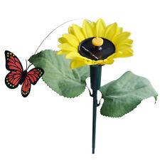 1x Tanzend Solar/Batterie Sonnenblume mit Schmetterling auf Gartensteckern  DKKO