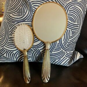 Vintage Brass hand held mirror with brush set made in USA