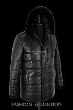 PUFFER Men Hooded Jacket Black Hip Length Quilted Leather Winter Fur Hoodie Coat