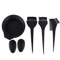 6PC Hair Dye Hairdressing Salon Colouring Bleach Bowl Comb Brushes Tint Tool Set