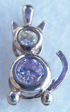 """Sterling Silver Crystal Cat Kitten Charm Clear Pink Crystal 3/4"""" 2 Gram"""