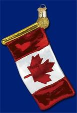 CANADIAN FLAG RED AND WHITE MAPLE LEAF OLD WORLD CHRISTMAS GLASS ORNAMENT 36143