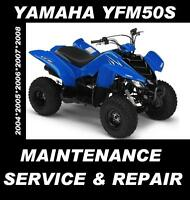 Yamaha YFM50S YFM50 YFM 50 ATV Quad Service Maintenance Repair Rebuild Manual