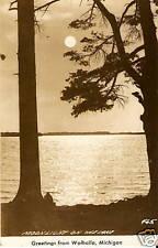 OLD PHOTO POSTCARD Walhalla MI Moonlight Lake View RPPC