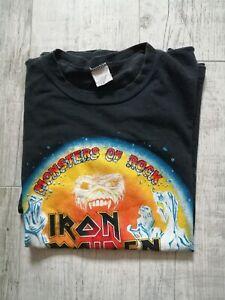 IRON MAIDEN Genuine TOUR T Shirt MONSTERS OF ROCK UK/Europe 1988 LARGE Rare ORIG