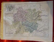 Old Map 1900 France Département Lot & Garonne Marmande Agen Nerac Villeneuve