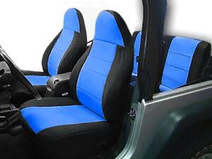 Jeep Wranglar TJ 1997-2002 Wetsuit Neoprene Seat Cover Set: Front & Rear- Blue