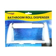 Plastic Toilet Paper Roll Holder Tissue Bathroom Dispenser Wall Mounted Hook Wht