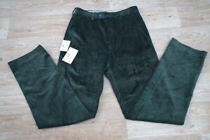 Gurteen Men Dark Brown Colour Cotton Corduroy Flat Front Jumbo Cord Trousers 30