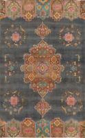 """Vintage Geometric Charcoal/Pink Tebriz Area Rug Hand-knotted Wool 9' 5"""" x 6' 8"""""""
