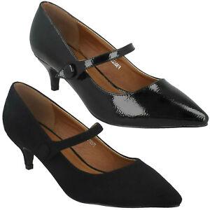 LADIES SMART FORMAL WORK SLIP ON COURT SHOES MID HEEL MARY JANE SPOT ON F9R0023