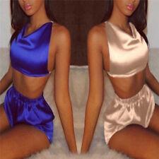 Sexy Women Satin Robe Shorts Babydoll Sleepwear Nightwear Pajamas Set ZN
