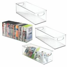 mDesign Stackable Storage Bin for DVDs, Video Games, Accessories, 4 Pack - Clear