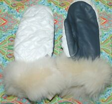NEW WOMENS L/XL WHITE/GREY UGG ALL WEATHER MITTENS GLOVES TOUCHSCREEN 17413