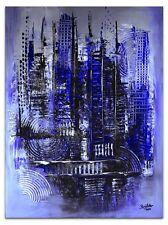 BURGSTALLER ORIGINAL Bilder Gemälde handgemalt Leinwandbild blau silber glitzer