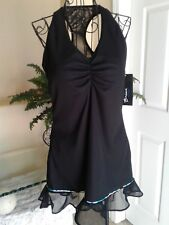 NWT! BPASSIONIT Black Halter Activewear Athletic Tunic Dress Size L MSRP $106