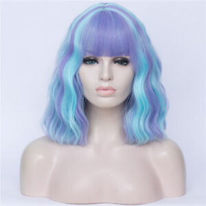 Girls Short Curly Hair Wigs with Neat Bangs Synthetic Full Hair Cosplay Wig YO