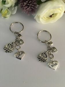 Pair Of Bride & Groom Key Rings ... Wedding Gift ... Just Married With Gift Box
