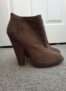 TIMELESS Camel Faux Suede Side Zip High Cuban Heel Ankle Boots Size UK 5
