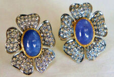 Look 925 Silver Valentine Stud Earring 4.30ct Rose Cut Diamond Sapphire Antique